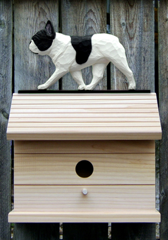 French Bulldog Hand Painted Dog Bird House Pied