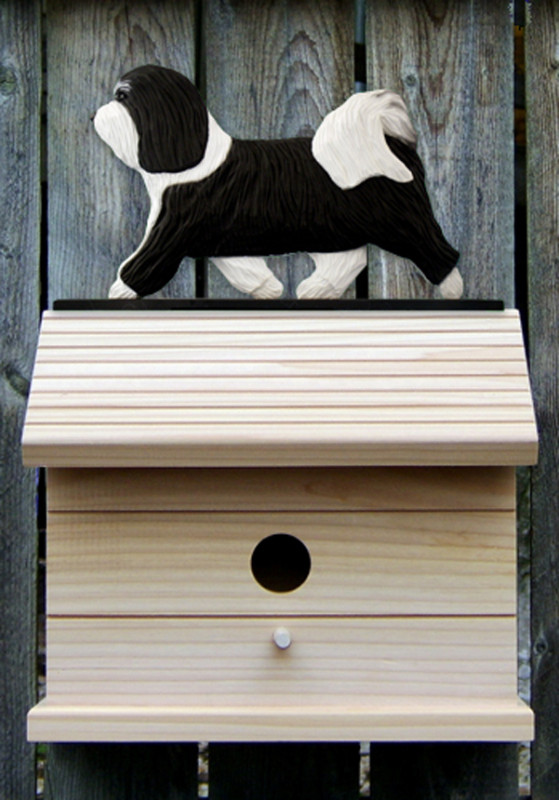 Havanese Hand Painted Dog Bird House Black/White