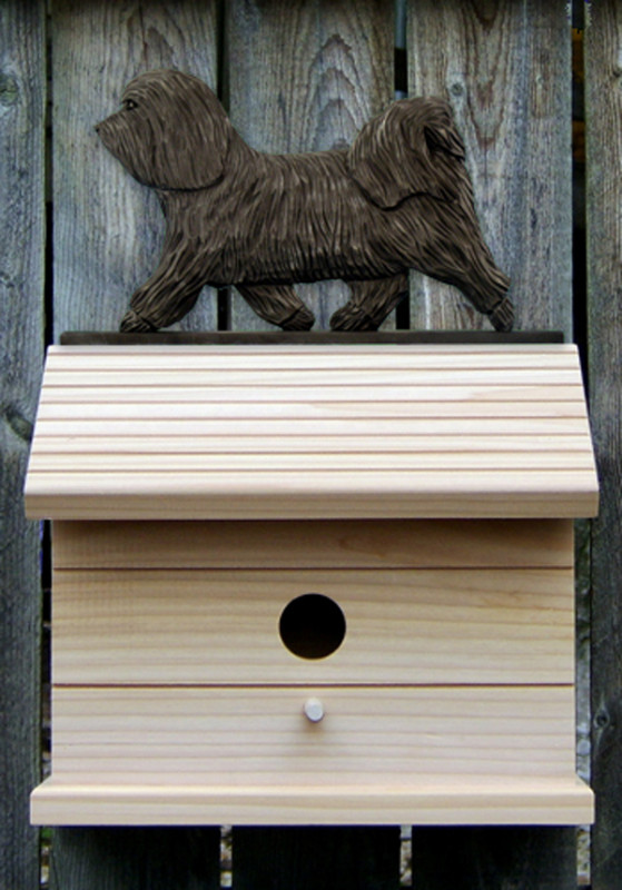 Havanese Hand Painted Dog Bird House Dark Gray