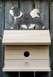 Havanese Hand Painted Dog Bird House Gray/White