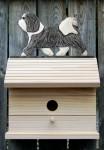 Havanese Hand Painted Dog Bird House Gray/White