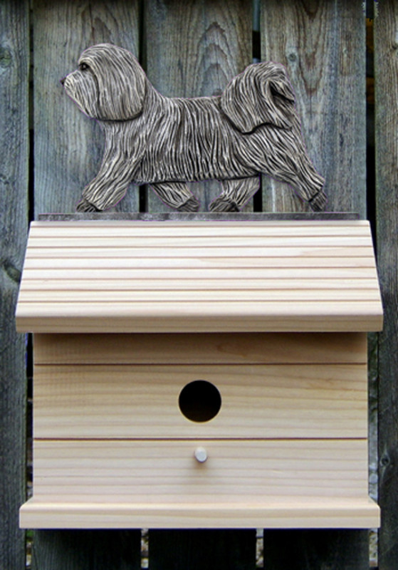 Havanese Hand Painted Dog Bird House Light Gray