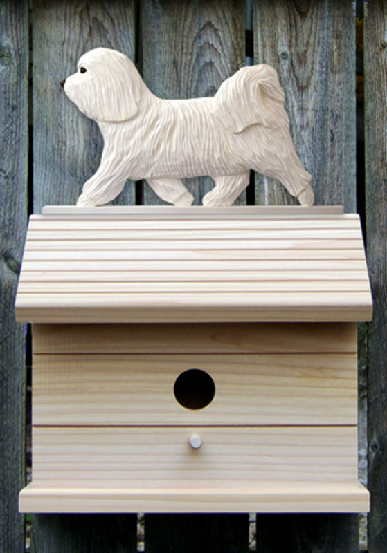 Havanese Hand Painted Dog Bird House White