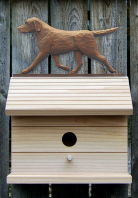 Chocolate labrador retriever hand painted dog bird house for Dog house for labrador retriever