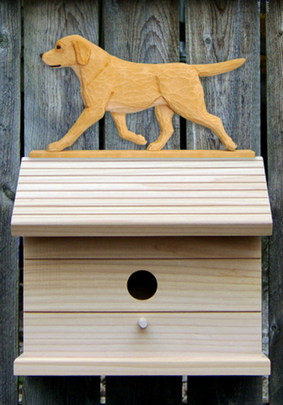 Yellow Labrador Retriever Hand Painted Dog Bird House