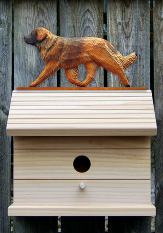Leonberger Hand Painted Dog Bird House