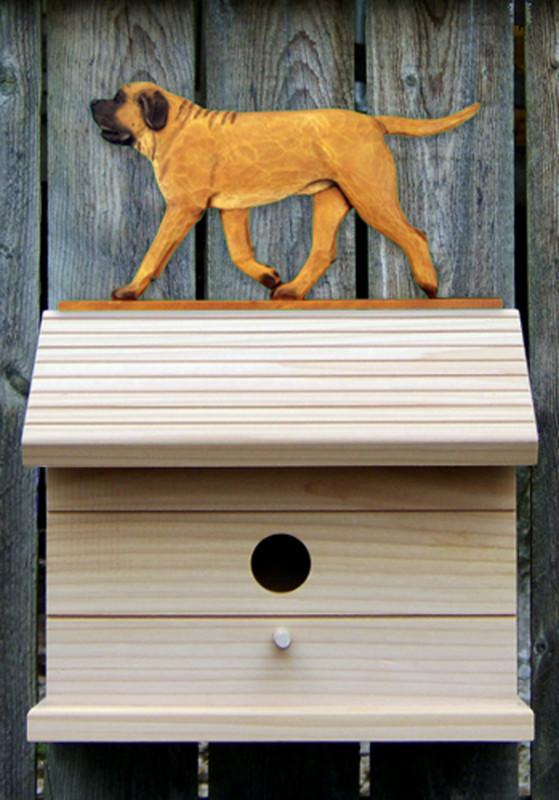 Mastiff Hand Painted Dog Bird House Apricot