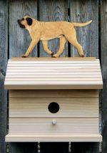 Mastiff Hand Painted Dog Bird House Fawn