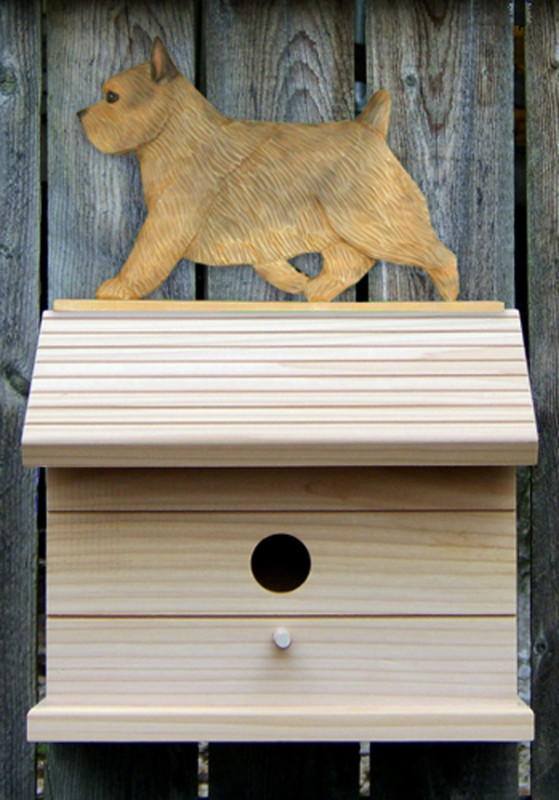 Norwich Terrier Hand Painted Dog Bird House Grizzle