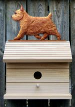 Norwich Terrier Hand Painted Dog Bird House Red