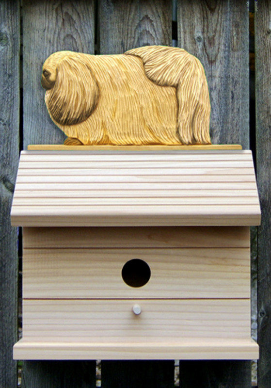 Pekingese Hand Painted Dog Bird House Fawn