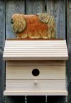 Pekingese Hand Painted Dog Bird House Red