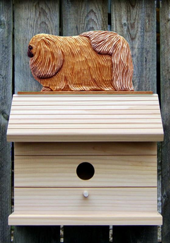 Pekingese Hand Painted Dog Bird House Sable