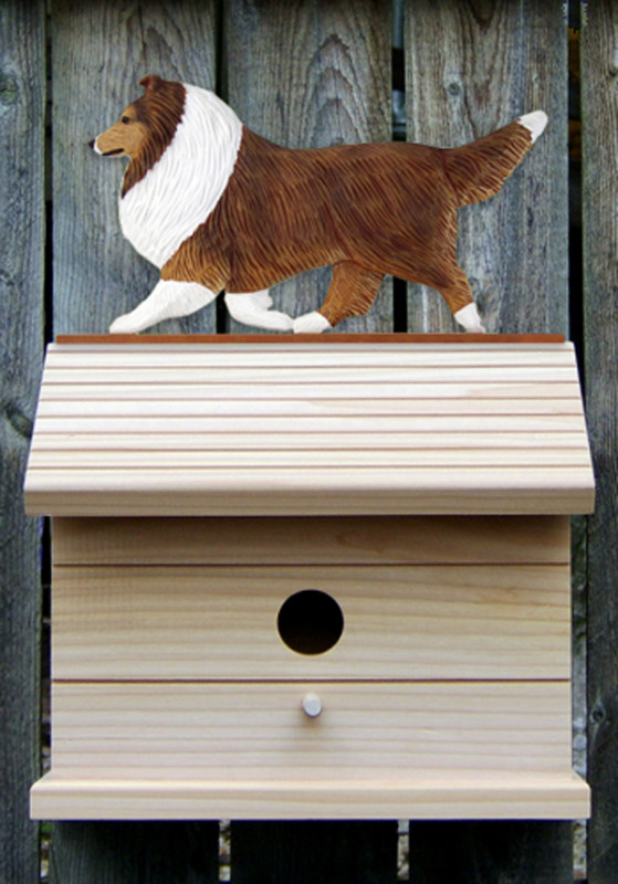 Shetland Sheepdog Hand Painted Dog Bird House Sable