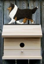 Shetland Sheepdog Hand Painted Dog Bird House Tri