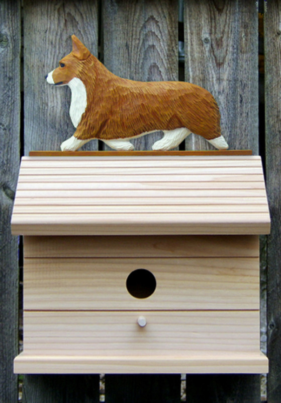 Welsh Corgi Pembroke Hand Painted Dog Bird House Red