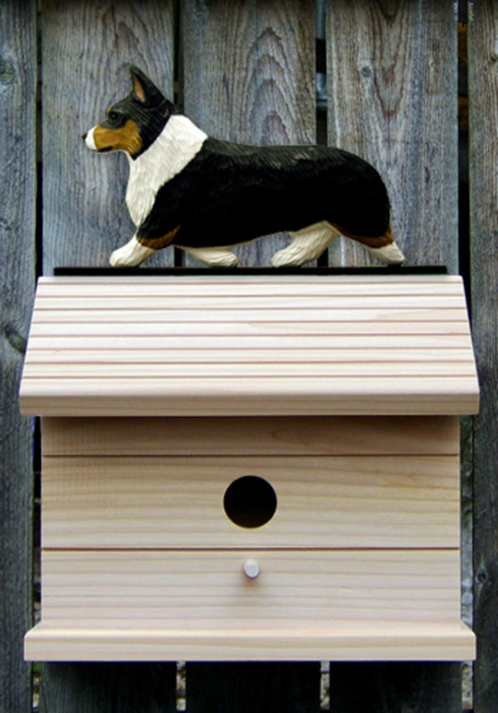 Welsh Corgi Pembroke Hand Painted Dog Bird House Tri