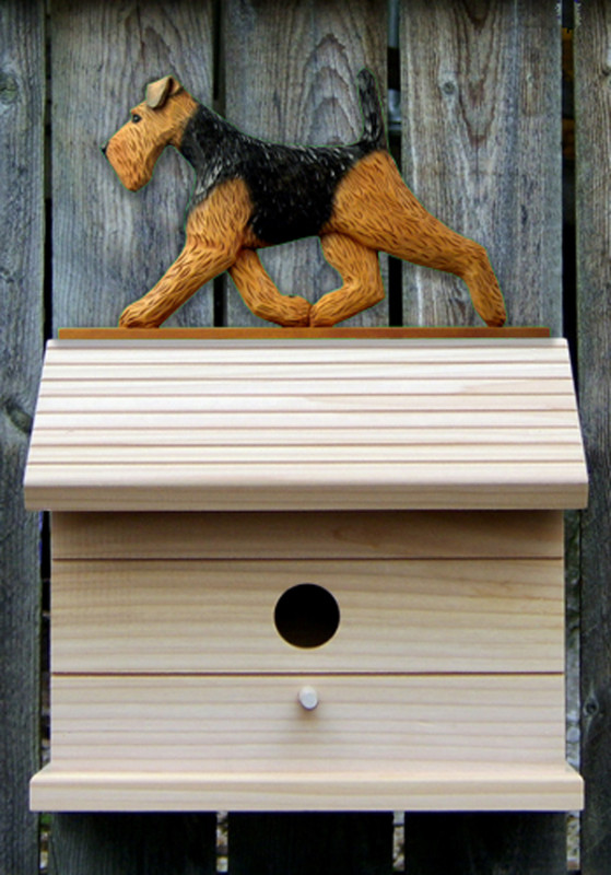 Welsh Terrier Hand Painted Dog Bird House