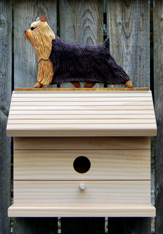 Yorkie Hand Painted Dog Bird House