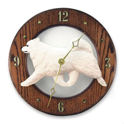 Samoyed Wood Wall Clock Plaque 2