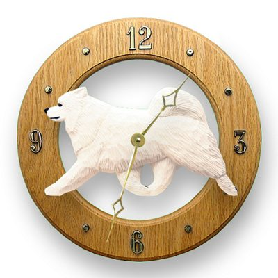 Samoyed Wood Wall Clock Plaque