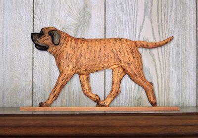 Mastiff Dog Figurine Sign Plaque Display Wall Decoration Apricot Brindle