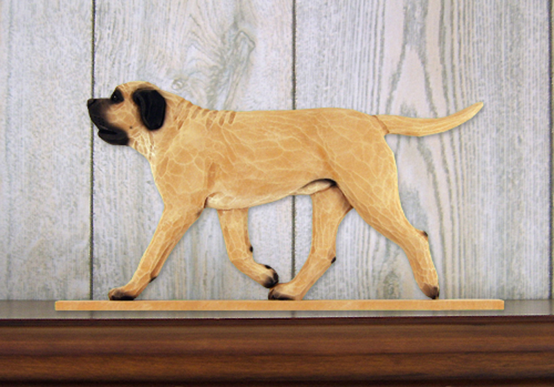 Mastiff Dog Figurine Sign Plaque Display Wall Decoration Fawn