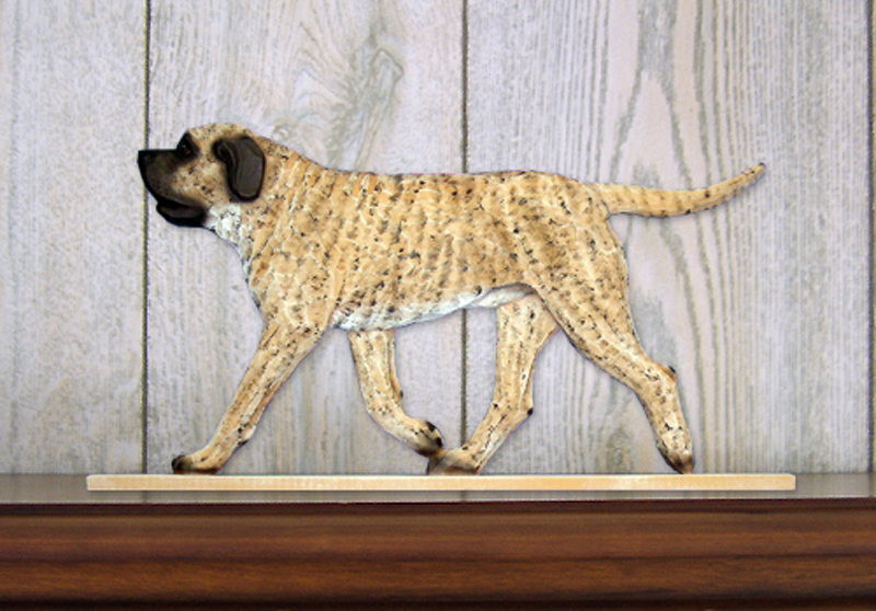 Mastiff Dog Figurine Sign Plaque Display Wall Decoration Fawn Brindle