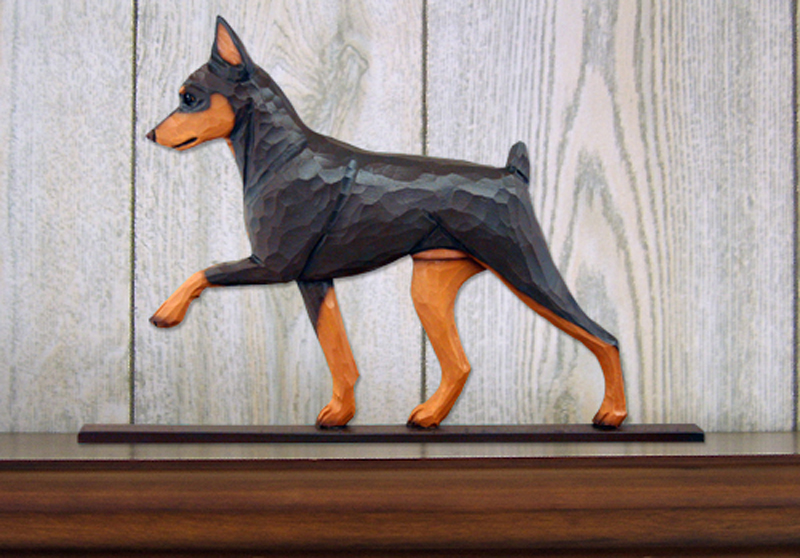 Mini Pinscher Dog Plaque Figurine Chocolate/Tan