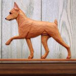 Mini Pinscher Dog Plaque Figurine Red