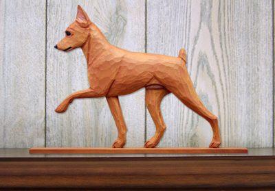 Mini Pinscher Dog Plaque Figurine Red