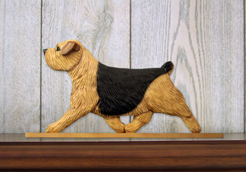 Norfolk Terrier Dog Figurine Sign Plaque Display Wall Decoration Black & Tan