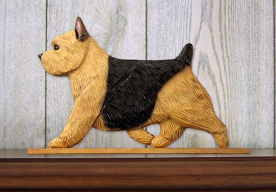 Norwich Terrier Dog Figurine Sign Plaque Display Wall Decoration Black &Tan 1