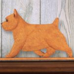Norwich Terrier Dog Figurine Sign Plaque Display Wall Decoration Red 1