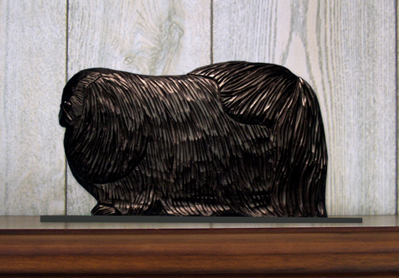Pekingese Dog Figurine Sign Plaque Display Wall Decoration Black
