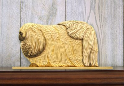 Pekingese Dog Figurine Sign Plaque Display Wall Decoration Fawn 1