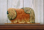 Pekingese Dog Figurine Sign Plaque Display Wall Decoration Red
