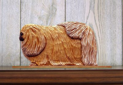 Pekingese Dog Figurine Sign Plaque Display Wall Decoration Sable 1