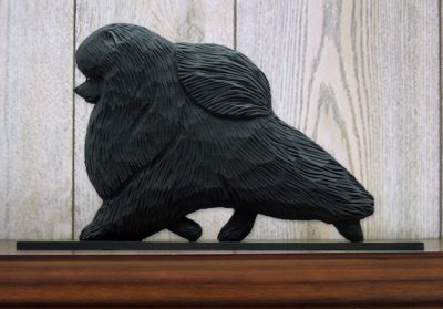 Pomeranian Dog Figurine Sign Plaque Display Wall Decoration Black