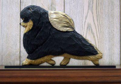 Pomeranian Dog Figurine Sign Plaque Display Wall Decoration Black & Tan
