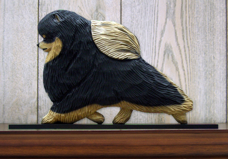 Pomeranian Dog Figurine Sign Plaque Display Wall Decoration Black & Tan