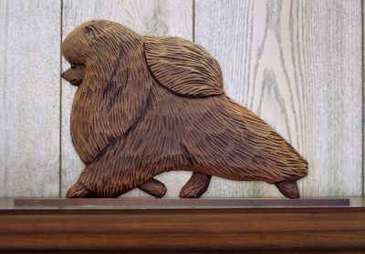 Pomeranian Dog Figurine Sign Plaque Display Wall Decoration Brown 1