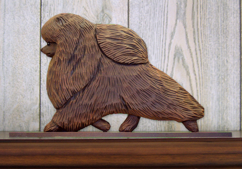 Pomeranian Dog Figurine Sign Plaque Display Wall Decoration Brown