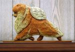 Pomeranian Dog Figurine Sign Plaque Display Wall Decoration Orange