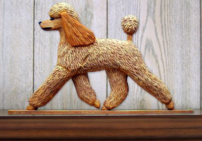 Poodle Dog Figurine Sign Plaque Display Wall Decoration Apricot 1