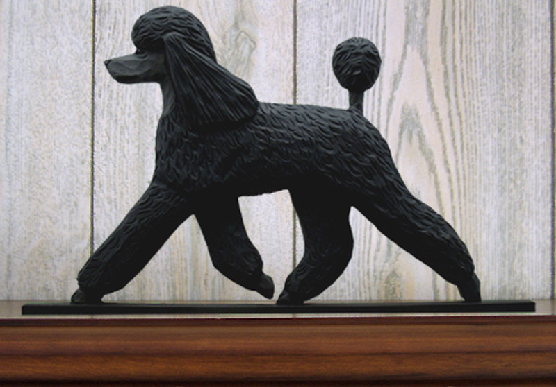 Poodle Sign Plaque Wall Decor Black