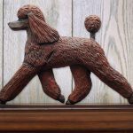 Poodle Dog Figurine Sign Plaque Display Wall Decoration Brown 1