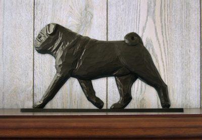 Pug Dog Figurine Sign Plaque Display Wall Decoration Black 1