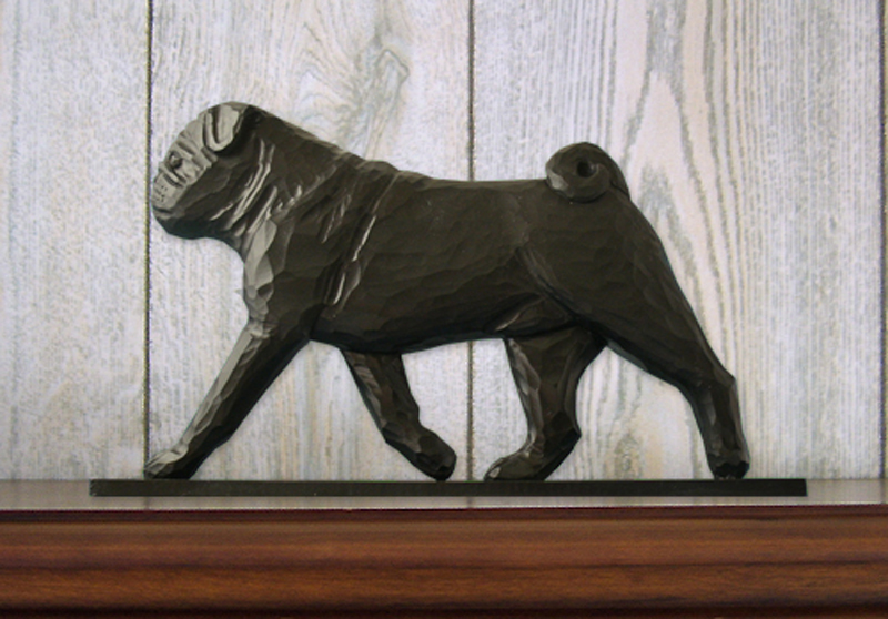 Pug Dog Figurine Sign Plaque Display Wall Decoration Black