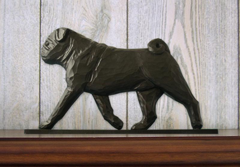 Pug Dog Figurine Sign Plaque Display Wall Decoration Black